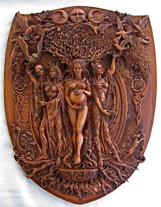 Wall Plaque - Triple Goddess - Wood Finish