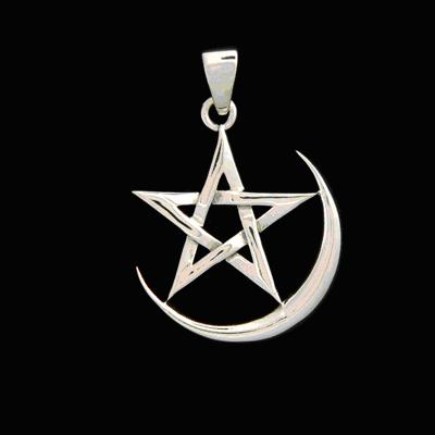 Pendant-Crescent Moon Pentagram