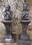 Statues - Crescent -Crowned Goddess & Stag-Horned God Altar Set -Stone