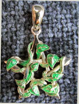 Pendant-Pentagram with Green Enamel Vine