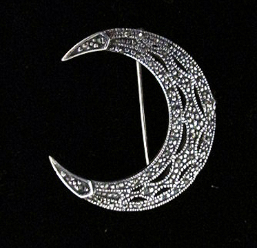 Brooch - Marcasite Crescent Moon Amulet