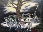"Art Print  - ""The Walnut Tree Dance at Benevento"" 8 x 10"