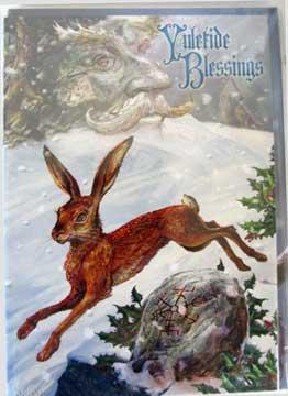 Yule Card - Midwinter Rune Hare